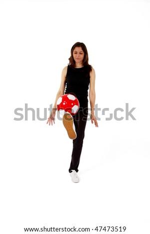 Sports woman training football - stock photo