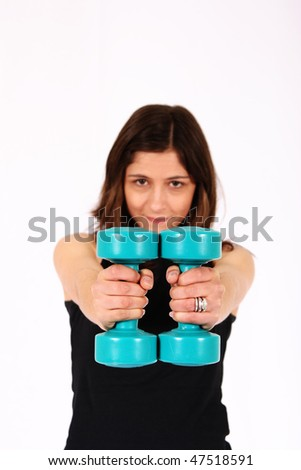 Sports woman working out - stock photo