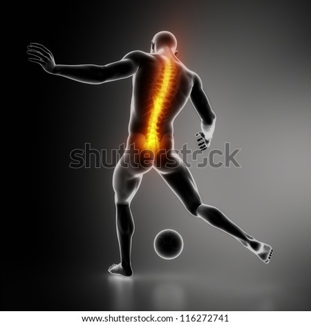Sportsman backbone injury - stock photo