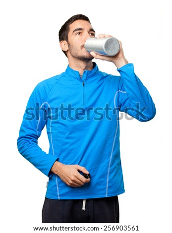 Sportsman drinking water - stock photo