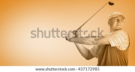 Sportsman is playing golf against orange vignette - stock photo