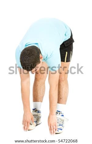 Sportsman isolate on white - stock photo