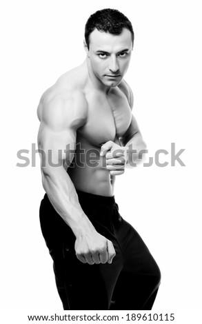 Sportsman isolated on white background.  - stock photo