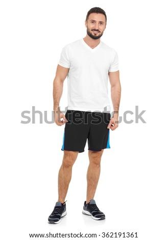 Sportsman looking at camera - stock photo