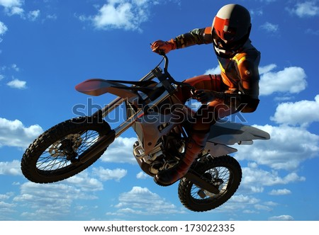 Sportsman on a motorcycle jumping. - stock photo