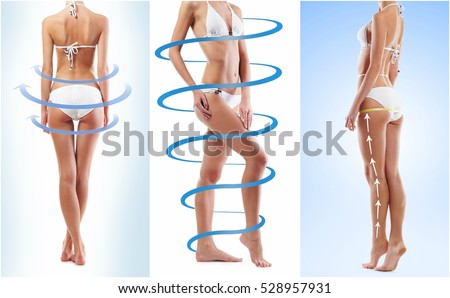 Sporty and beautiful female body with the arrows (healthy eating, vitamins and nutrition collection)
