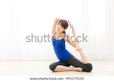 sporty asian woman exrcise image - stock photo