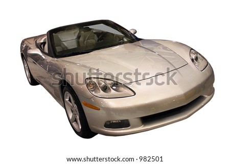 Sporty Convertible Isolated Over White - stock photo