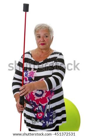 Sporty female senior - isolated on white background - stock photo