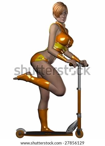 Sporty Girl with Kickboard - stock photo
