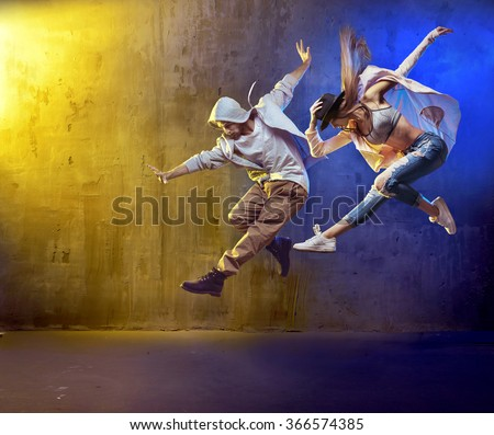 Sporty hip-hop dancers - stock photo