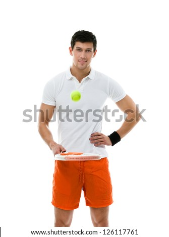 Sporty man playing tennis, isolated - stock photo