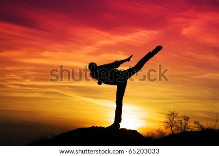 Sporty men outdoors in the high kick. - stock photo