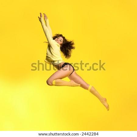 Sporty model superman-flying - stock photo