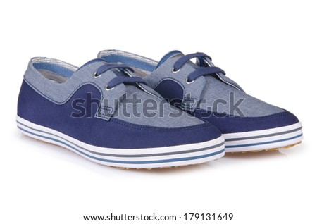 Sporty shoes in sport shoes concept on white - stock photo