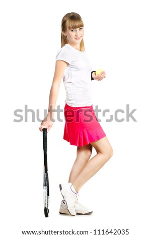 sporty teenage  girl standing with tennis racket and ball isolated over white - stock photo