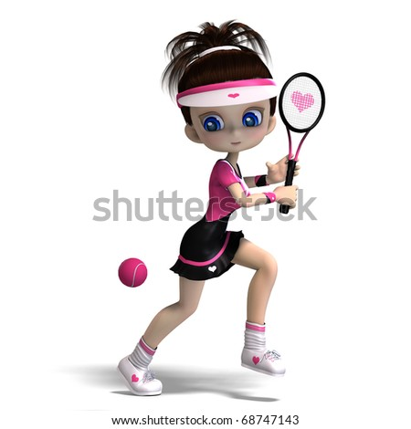 sporty toon girl in pink clothes plays tennis. 3D rendering with clipping path and shadow over white - stock photo