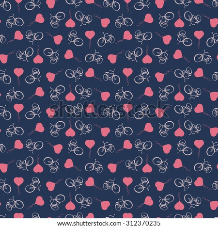 Sporty, tourist, seamless background with bicycles and heart balloons  isolated on dark blue background. Rasterized version - stock photo