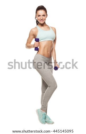 sporty woman do her workout with dumbbells, isolated on white background - stock photo