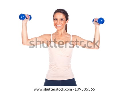 sporty woman lifting some weights and working out - stock photo