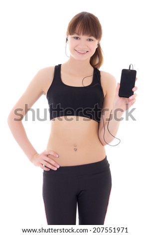 sporty woman listening music with phone isolated on white background - copyspace - stock photo