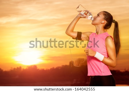 sporty woman on recreation in nature  - stock photo