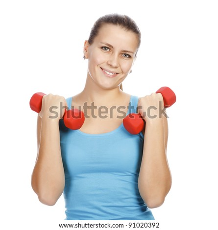 Sporty woman smiling to you, isolated on white background
