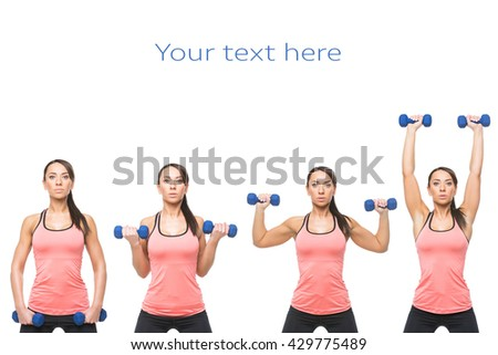 Sporty woman with dumbbells - stock photo