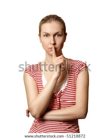 Sporty woman with finger near mouth isolated on white background - stock photo