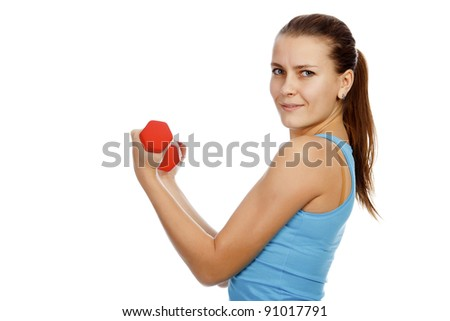 Sporty woman with red barbells on white background