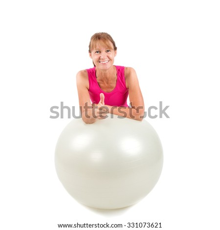 Sporty woman with thumb up - love sport - stock photo