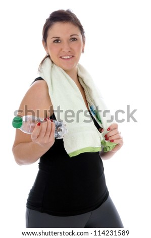 sporty woman with water bottle / healthy living - stock photo
