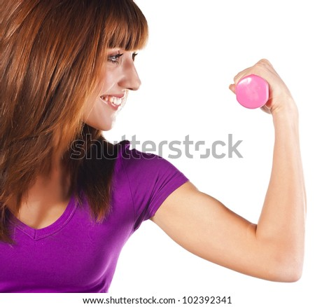 Sporty young woman with dumbbells. Active sporty life, wellness. - stock photo