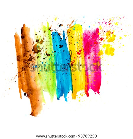 spot blue rainbow blue green yellow red brown watercolor blotch texture isolated on a white background - stock photo