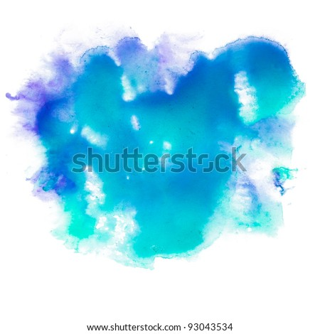 spot blue watercolor blotch texture isolated on a white background - stock photo