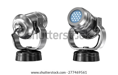 Spot light isolated over white - stock photo