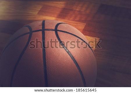 Spot light on basketball  - stock photo