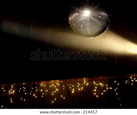 Spot Light  on Mirror Ball at Party - stock photo