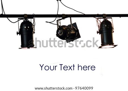 Spot light system on white isolated background with space for text - stock photo
