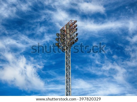 Spot-light tower and sky blue ,Thailand