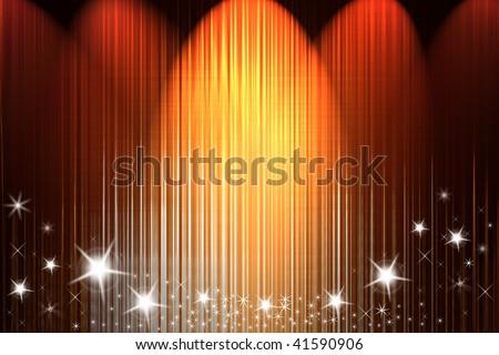 Spot lights shining onto background. Shiny stars. - stock photo