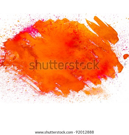 spot orange blotch watercolors isolated on white background - stock photo