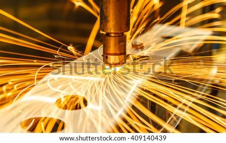 Spot welding machine Industrial automotive part in factory - stock photo