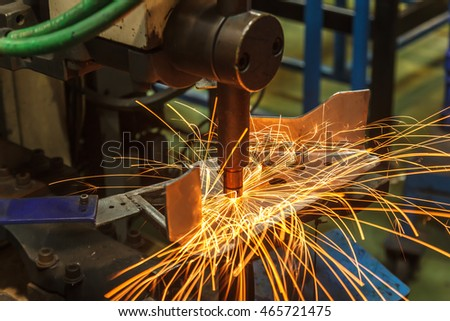 Spot welding machine Industrial automotive part in factory
