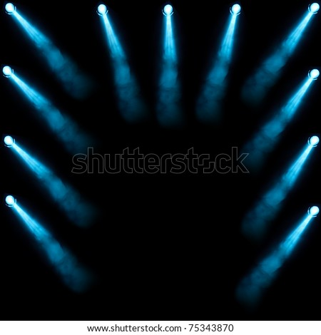 Spotlight, a few points of light on stage - stock photo