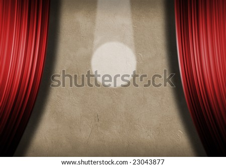 Spotlight and curtains - stock photo