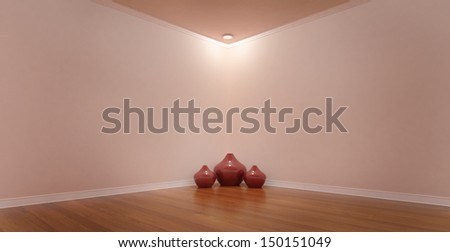 Spotlight in a Corner of a Pink Room With Vases   - stock photo
