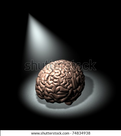 Spotlight on education and the brain - stock photo