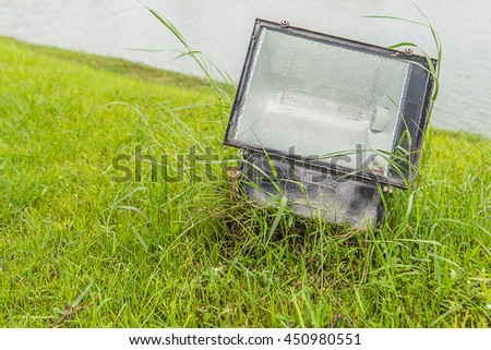 Spotlight on grass background