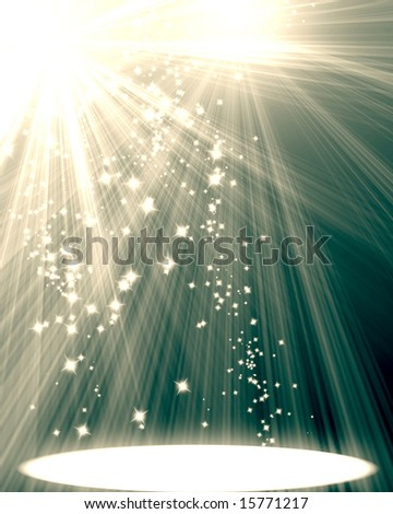spotlight on scene with some sparkles on it - stock photo